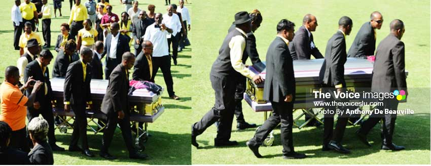 Image: The final farewell - Chaz' being taken to his place of rest.(Photo: Anthony De Beauville)