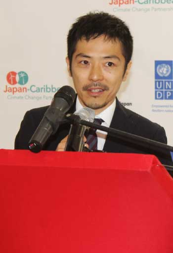 Image of Toshihide Kanaya, Second Secretary at the Embassy of Japan in Trinidad and Tobago at the J-CCCP presentation.