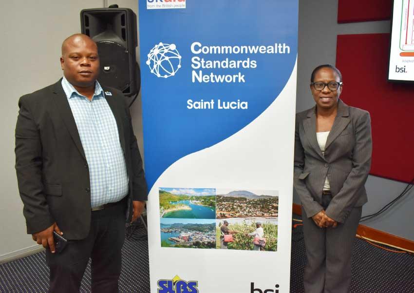 Image of Verne Emmanuel, Director of Saint Lucia Bureau of Standards (SLBS) and Euthalia Philgence, Local Expert at BSI.