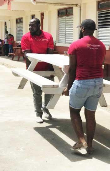 Image: CIBC representatives hard at work at the Millet Primary School.