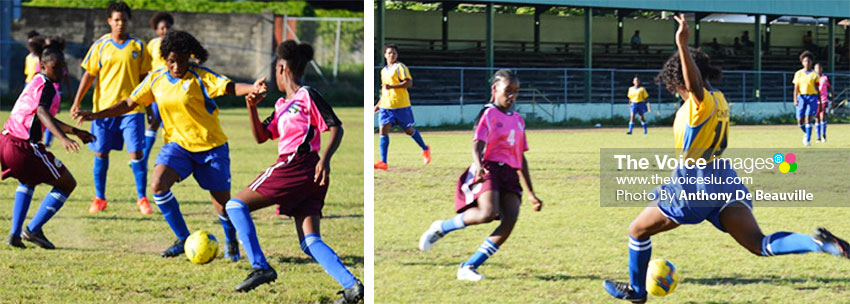 Image: (L-R) Canaries No. 14 Janell Mathurin continued to mesmerize the Under 14 defense; Mathurin takes a powerful right foot shot towards goal .(PHOTO: Anthony De Beauville)