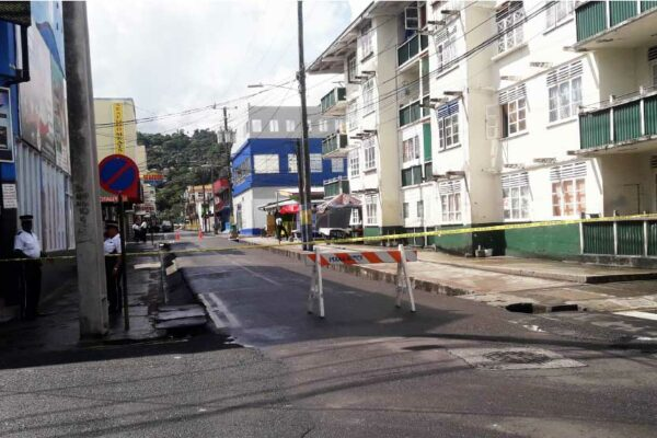 Image of Coral Street cordoned off from the Aquarius Crossing.