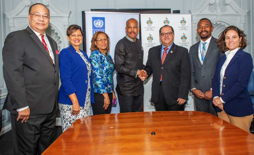 Image: L-R: The UWI Pro Vice-Chancellor and Professor of Practice, Global Affairs, Ambassador Dr Richard Bernal; The UWI Pro Vice-Chancellor and Campus Principal, Open Campus, Dr Luz Longsworth; The UWI Director of Development, Dr Stacy Richards-Kennedy; The UWI Vice-Chancellor, Professor Sir Hilary Beckles; UNDP Assistant Secretary General and Regional Director for Latin America and the Caribbean, Dr Luis Felipe López Calva; UNDP Regional Advisor, Latin America and the Caribbean, Kenroy Roach and UNDP Regional Partnership Advisor, Francesca Nardini.