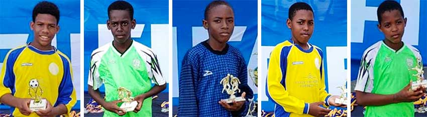 Image: (L-R) Outstanding players of the tournament - Tavi Anthony, Justie Germaine, David Blackman, Marvinus Biscette and D'Andre Perez. (PHOTO: CD)