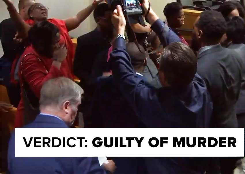 Image: Jubilation in the courtroom following the announcement of the Guilty verdict in the Amber Guyger Trial.