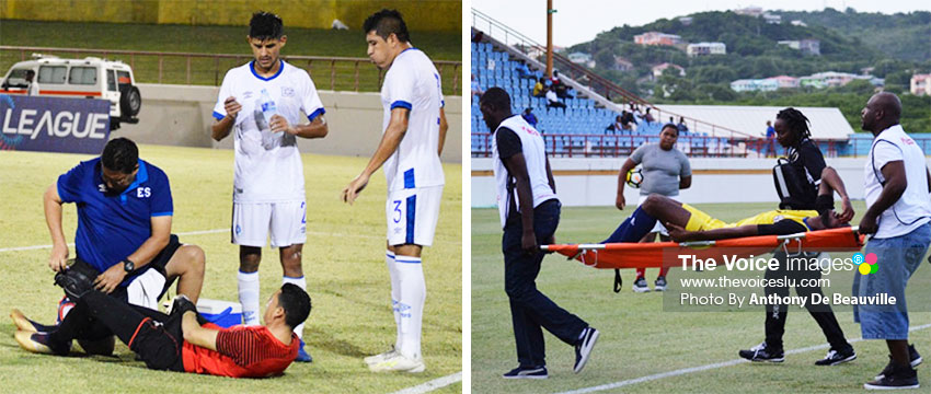 Image: (L-R) ) El Salvador goalkeeper Henry Hernandez being treated by team Physiotherapist Rene Lemus following a powerful right foot shot from Saint Lucia No. 17 Chaim Roserie; A Saint Lucian player being stretched off the field by the medical team. (PHOTO: Anthony De Beauville)