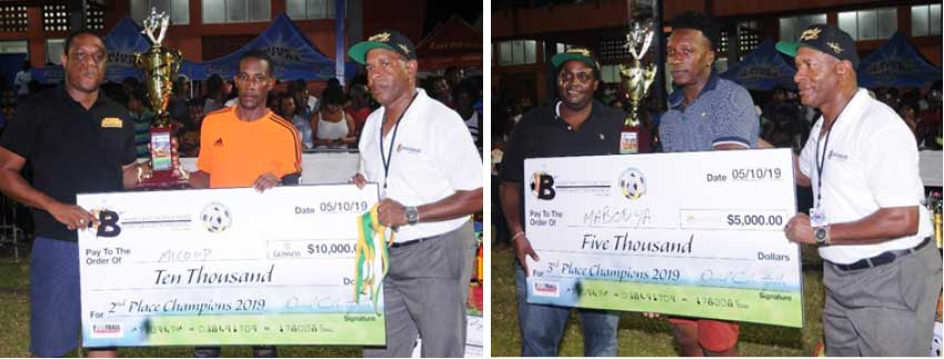 Image: (L-R) Micoud (second place) and Mabouya Valley (third place) receiving their cheque and trophy from Blackheart CEO and sponsors. (Photo: DP)