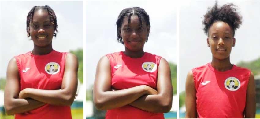 Image: Saint Lucia goal scorers against USVI,  IllanaLashley, Cassandra Shepherd and Krysan St Louis.(Photo: EB)