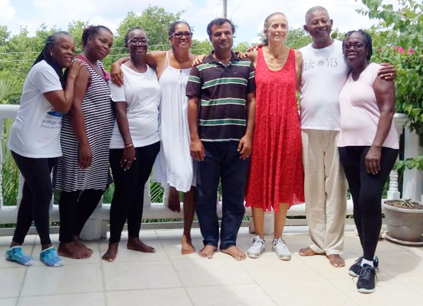 Image of Some of the Biodanza participants with Adrien Baya (second from right) and Sylvie (third from right).
