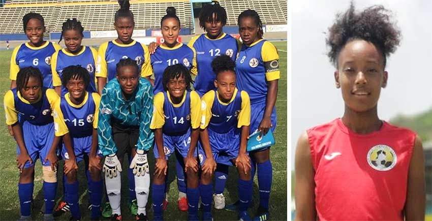Image: (L-R) Team Saint Lucia played against Cuba on Tuesday; Krysan St Louis, the lone goal scorer for Saint Lucia against Cuba taking her tally to 3 in 4 matches. (PHOTO: EB)