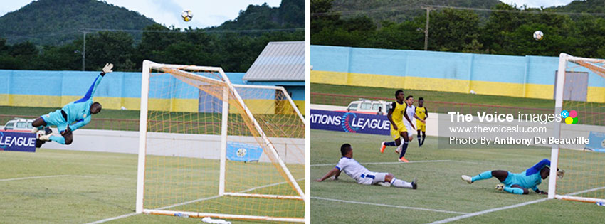 Image: Saint Lucia goalkeeper Vino Barclett caught in mid-air in attempt to save a goal; Barclett called into action again. (PHOTO: Anthony De Beauville)