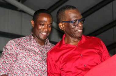 Image: Wayne Girard (left) with SLP Political Leader Philip J Pierre at Sunday's Conference of Delegates.