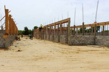 An earlier picture of the stables under construction where the horses are presently being kept.