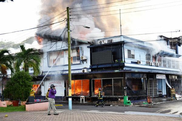 Image of Adjodha bulding on fire.