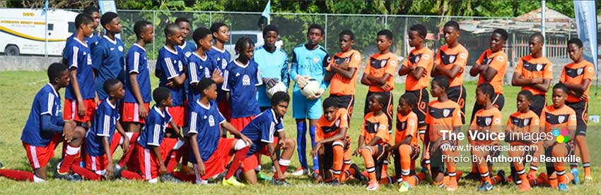 Image: (L-R) ) Flow Lancers FC and GMC United Under 15 teams minutes before the final clash. (PHOTO: Anthony De Beauville)