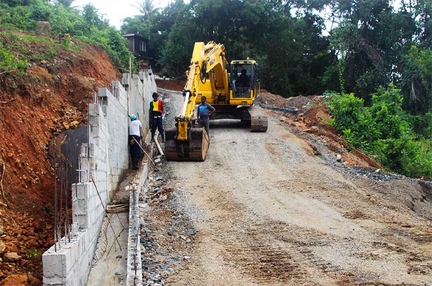 Image: Infrastructure being built in the Bois Jolie, Dennery development.