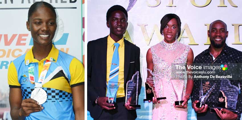 Image: (L-R) Last year's top winners (Junior Athletes) Julien Alfred (Athletics) and Kimani Melius (Cricket), and Levern Spencer and Albert Reynolds (Athletes), both Senior Athletics. (PHOTO: Anthony De Beauville)