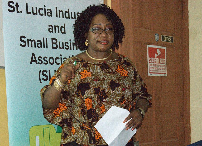Image of SLISBA's President Flavia Cherry speaking at the workshop