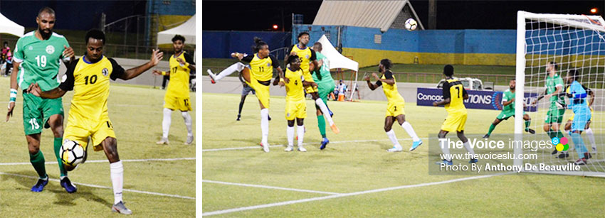 Image: (L-R) Saint Lucia No. 10 takes a shot to goal; one of the many scary moments for Saint Lucia. (PHOTO: Anthony De Beauville)
