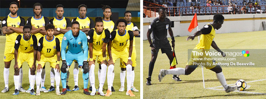 Image: (L-R) Team Saint Lucia makes their final appearance in the CONCACAF Nations League; Saint Lucia captain No.4 Pernal Williams takes a corner kick. (PHOTO: Anthony De Beauville)