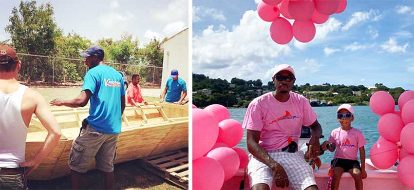 """Image: The """"labour of love"""" boat being built as a family, took part in the ARC Flotilla; Aldean Jadanni Louis – Fernand, father and son moment on Sunday. (PHOTO: JB)"""