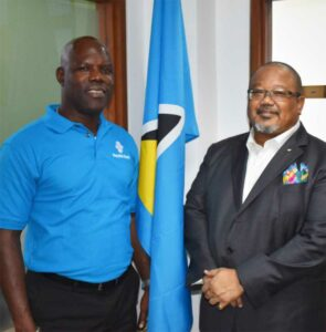 Image of Vernon Gordon Julien, Country Manager of Republic Bank Saint Lucia (left) with Derwin M. Howell, Executive Director at Republic Bank Limited.