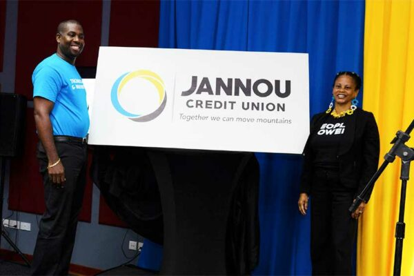 Image: Jannou's Deputy General Manager, Celestin Laurent (L) and President, Junia Emmanuel- Belizaire (R) unveiling the new Jannou logo