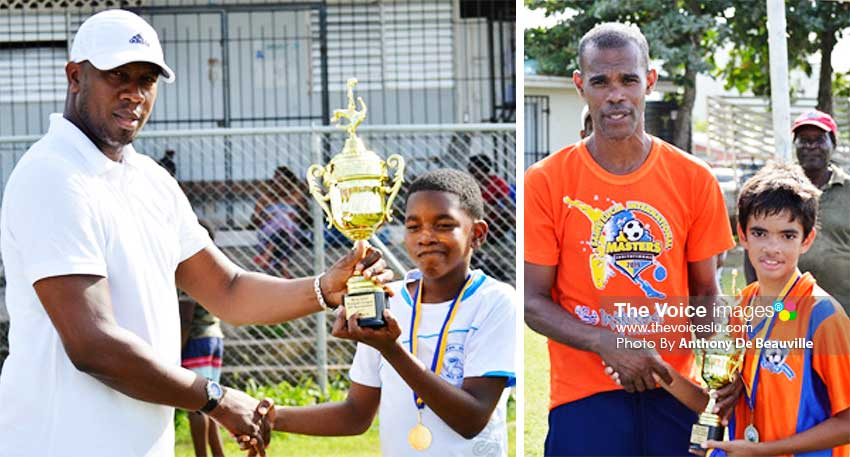 Image: (L-R) Francis Lastic presenting championship trophy to the Northern United All Stars winning captain; Shermon Sylvester presenting the captain of Valley Soccer with the second place trophy. (PHOTO: Anthony De Beauville)