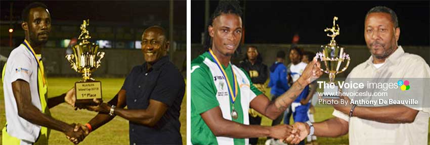 Image: (L-R) Gros Captain, Giovani Deterville receiving the Island Cup from NLA representative Caron Serieux and VFS striker Antonio Joseph receiving second place trophy from SLFA President Lyndon Cooper. (PHOTO: Anthony De Beauville)