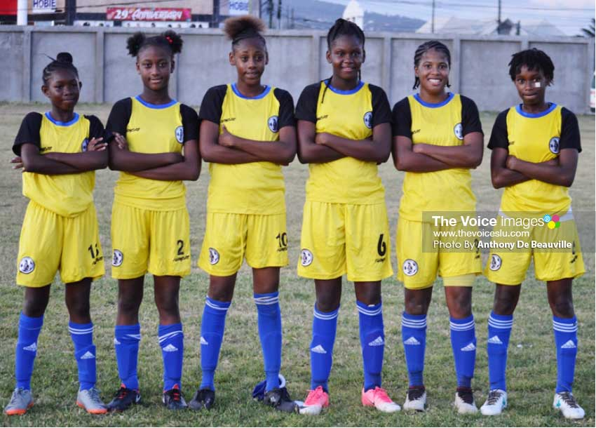Image: (L-R) Goal scorers for team Saint Lucia, KershimaInce; Jerdel Emery;    Freegeanne Joseph; Harmonie Jones; Anika Louis and Asa Alexander.
