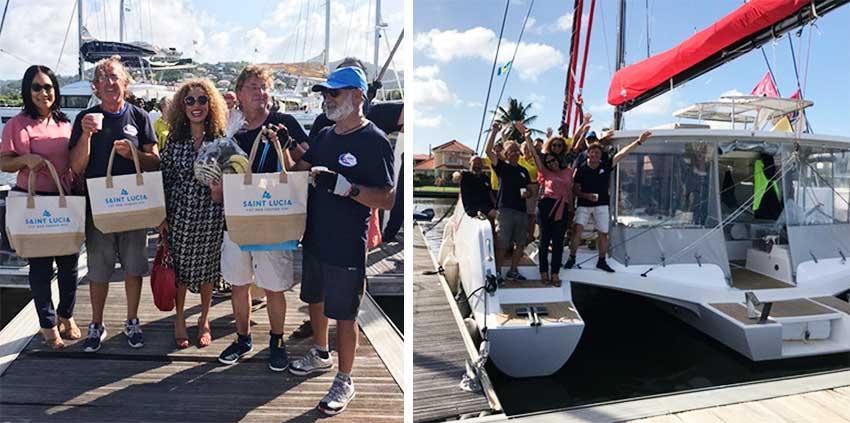 Image: (L-R)Minimole crew and Saint Lucia Tourism Authority (SLTA) representatives celebrate in Rodney Bay Saint Lucia. (PHOTO: SLTB)