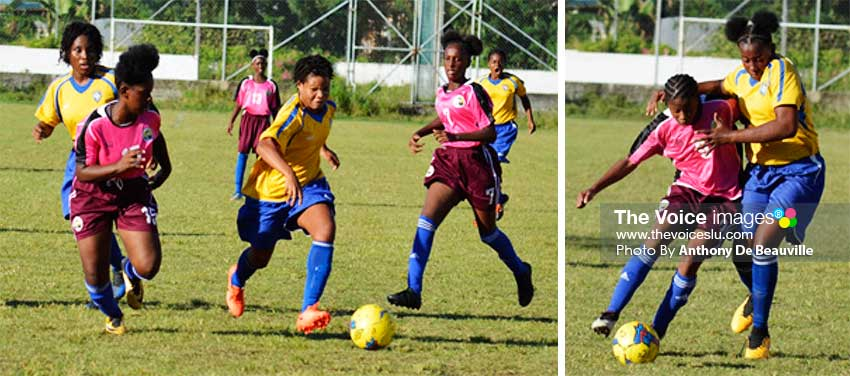 Image: (L-R) National Under 14 women in action against Canaries in SLFA Tournament. (PHOTO: Anthony De Beauville)