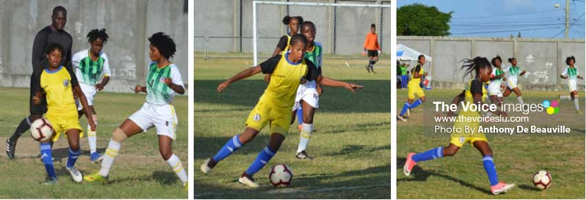 Image: (L-R) Saint Lucia continues their relentless attack on the Dominicans. (Photo: Anthony De Beauville)