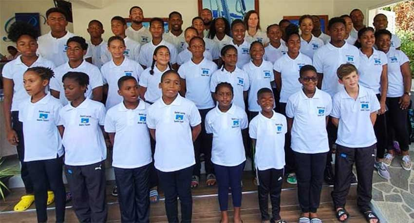 Image: Saint Lucia's 34 member team which participated at the 2019 OECS Swim Championship in Saint Vincent and the Grenadines. (PHOTO: SLAF).