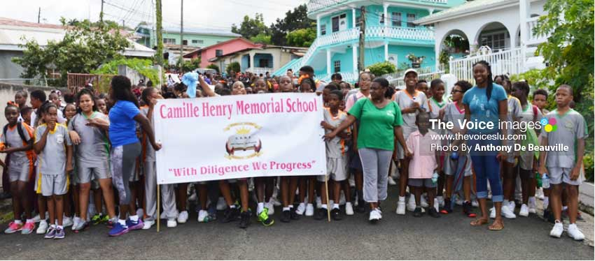 Image: Camille Henry Memorial School leading the charge. (Photo: Anthony De Beauville)