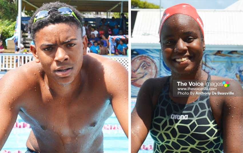 Image: (L-R) Jayhan Odlum-Smith and Mikaili Charlemagne are strong contenders for the Junior Swimmer of the Year awards. (PHOTO: Anthony De Beauville)