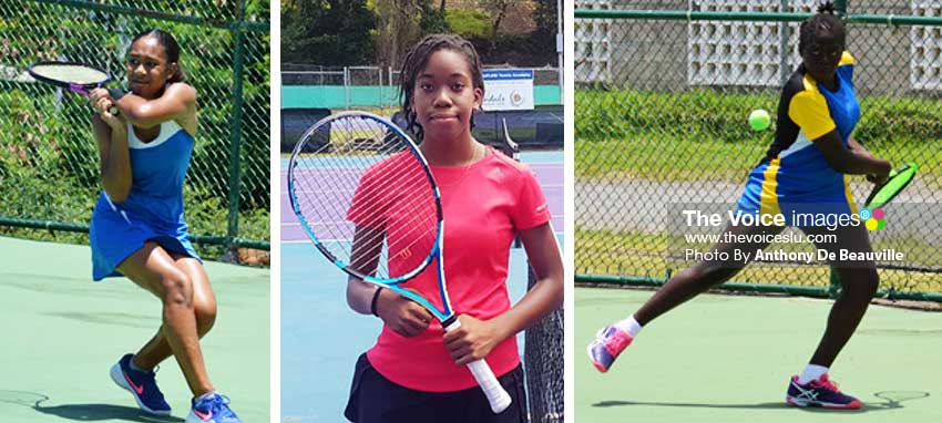 Image: (L-R) Three out of four female tennis players vying for the Junior supremacy: Jorja Mederick, Aviona Edmund and Iyana Paul. (PHOTO: Anthony De Beauville)