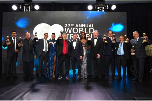 Image: Sandals representatives with their awards at the 27th annual World Travel Awards.