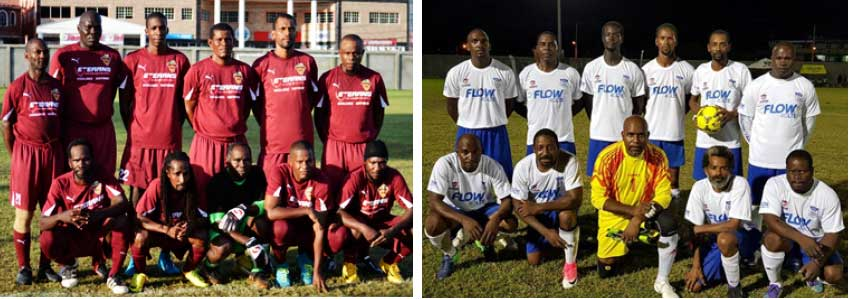 Image: (L-R) Soufriere and Flow Lancers FC. (Photo: Anthony De Beauville/AM)