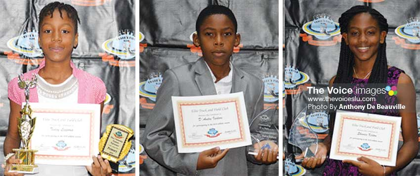 Image: (L-R) Tesley Lesporis (Academic Award); D'Andre St Omer (Under 14 male Athlete of the Year); Shanice Kirton (Under 14 female Athlete of the Year). (PHOTO: Anthony De Beauville)