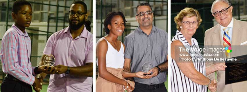 Image: (L-R) Top High Performance Players Under 14 boys Arden Rosemond and Under 18 girls Aviona Edward receiving their awards; Jane Du Boulay receiving an award for many years of support to tennis in Saint Lucia from SLTA President Stephen McNamara. (PHOTO: Anthony De Beauville/MW)