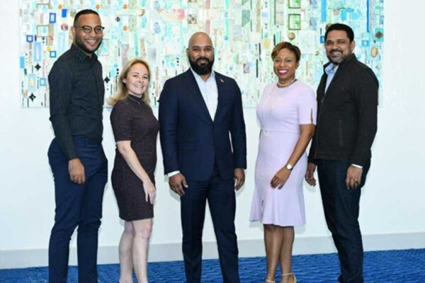 Image: CSHAE Executive Committee: Brian Frontin (center) with (from left) Miles B. M. Mercera of Curaçao, Véronique Legris of Saint Martin, Stacy Cox of Turks & Caicos, and St Lucia's Noorani Azeez.