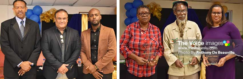 Image: (L-R) SLNCA President – Carol Henry, Sandals Regional Public Relation Manager – Sunil Ramdeen, CWI Vice President – Dr Kishore Swallow; Long Service awards to – Elizabeth Williams, Henry 'Jah D' Pierre and Verena Felicien. (PHOTO: Anthony De Beauville)