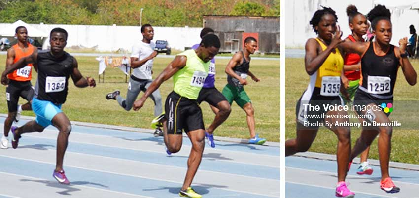 Image: (L-R) No. 1494 Corneil Lionel first across the finish line in the Men 100 meters final in a time of 10.49 seconds; Nos. 1355 Kayla Thorpe & 1252 Jola Felix finish 1st & 2nd in the Women 100 meters finals. (PHOTO: Anthony De Beauville)