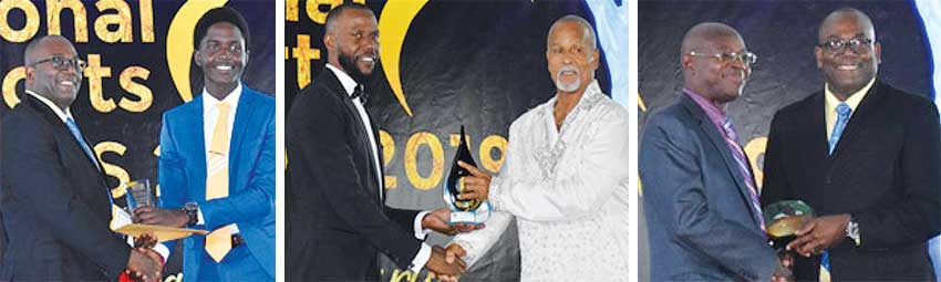 Image: (L-R) Sports Minister Edmund Estaphane presenting the Junior Sportsman of the Year award to Kimani Melius; PS Sports Benson Emile presenting the Lifetime Achievement Award to Denis St Claire; Youth and Sports Officer Ligorious Marquis receiving a special award from Sports Minister Edmund Estaphane. (PHOTO: Anthony De Beauville)