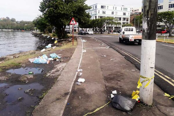 Image of garbage strewn along the Castries Waterfront yesterday morning.