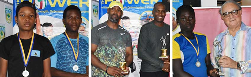 Image: Double champions – Hamlet Phillip and Ron Blanchard; Girls Under 18  losing finalist – Iyana Paul receiving her second place trophy from SLNTA President – Stephen McNamara. (PHOTO: Anthony De Beauville)
