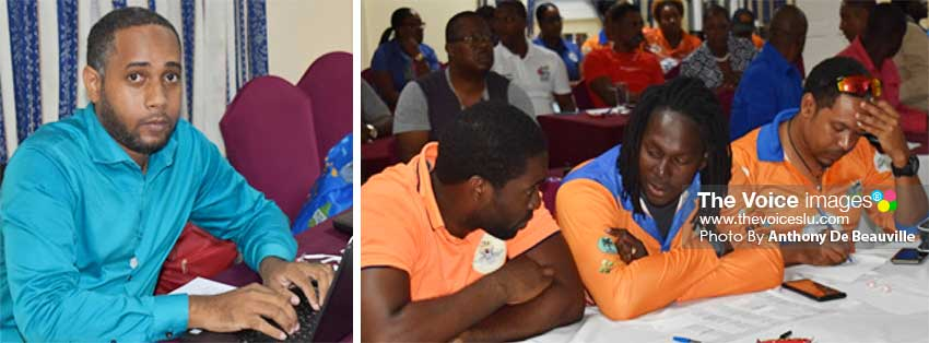 Image: (L-R) CEO SPL T20 Hasan Eristhee; defending champions Choiseul Craft Masters technical staff in deep thought during the Draft. (PHOTO: Anthony De Beauville)