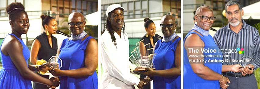 Image: (L-R) Iyana Paul, Junior Female Tennis Player for Year;  Vernon Lewis first Inductee in the Hall of Fame  and Trevor Huntereceiving the Junior Male Tennis Player award on behalf of Jordan Hunte who is currently out of state on studies, the three individuals received  the awards from SLOC President, Fortuna Belrose. (PHOTO: Anthony De Beauville/MW)