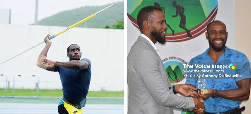 Image: (L-R) Javelin thrower Albert Reynolds in action at the GOS; Permanent Secretary in the Ministry of Youth Development and Sports, Benson Emile presenting Reynolds with his award. (PHOTO: DP/Anthony De Beauville)